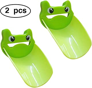 2PCS Faucet Extender Sink for Kids, Bathroom Extension Spout Baby Accessories, Child Helper Faucets Handle Hose Adapter easy Assembly for Kitchen - Watch & Teach toddler Safe Washing (Green)