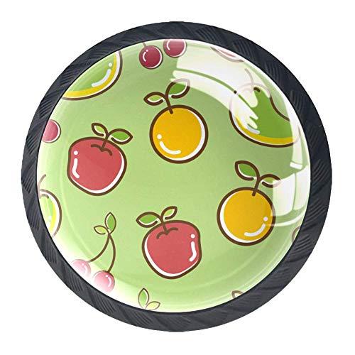 Türknauf aus Glas, für Schranktüren, Schubladen, Bananen-Äpfel, 4 Stück