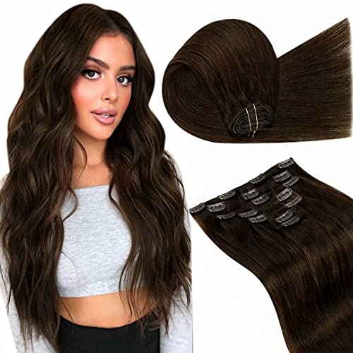 Clip in Extensions Human Hair Natural Dark Brown 20 Inch 7Pcs 100G Double Weft Remy Clip in Real Hair Extensions Brown Human Hair