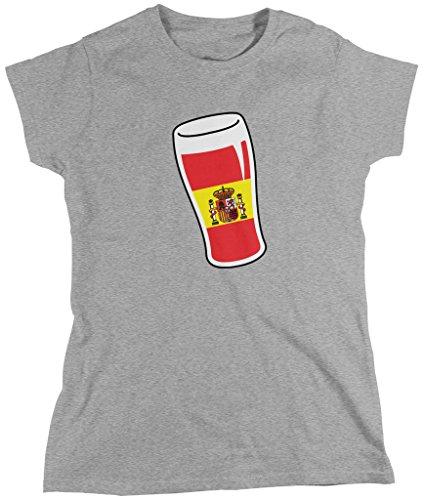 Amdesco Spain Beer Glass, Espana Flag, Spain Drinking Team - Camiseta para Mujer