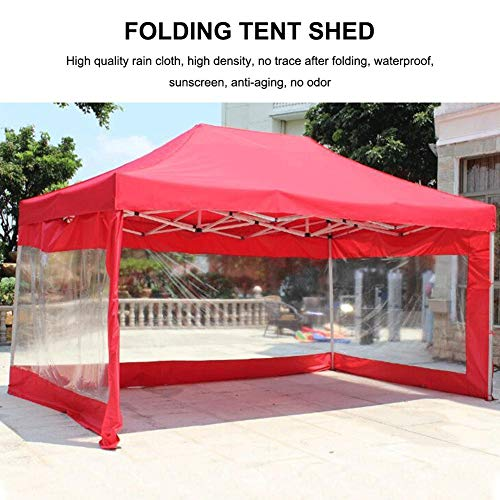 Yunhigh-uk Outdoor Garden Gazebo Tent Cover Transparent with Red Roof, Canopy Sun Shade Tent Shed Waterproof Rainproof Cloth (Without Frame)