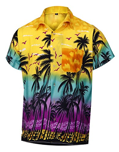 Virgin Crafts Mens Hawaiian Shirt Short Sleeve Button Down Hibiscus Beach Party