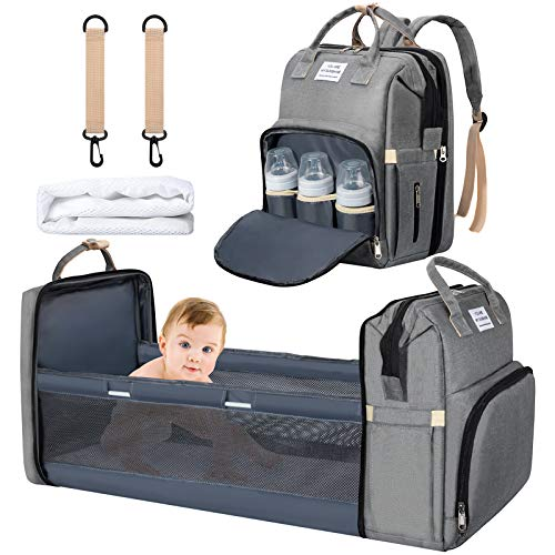 3 in 1 Baby Changing Bag Backpack, Baby Diaper Bag Nappy Back Pack with Changing Mat & Stroller Straps for Mom and Dad (Grey)