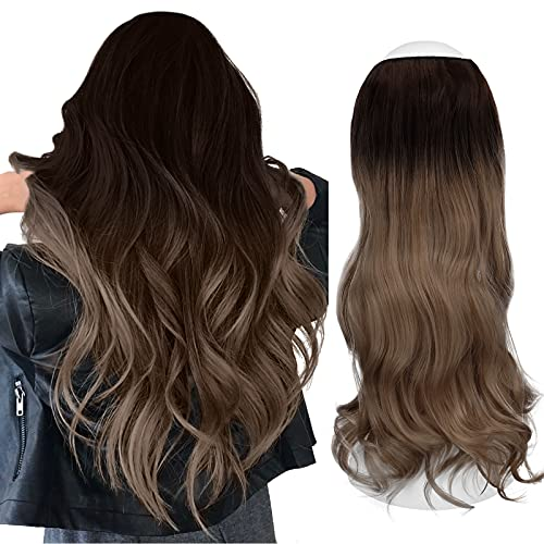 Sofeiyan Curly Wavy Halo Hair Extensions 20 Inch Synthetic Hairpieces Invisible Secret Wire Crown Hair Extensions for Women No Clip, Medium Brown/Light Ash Brown Mix