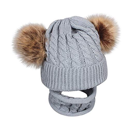 ARAUS-Bonnet Chaud Chapeau Cagoule Renard Bebe Enfant Echarpe Hiver Automne en Laine Tricote