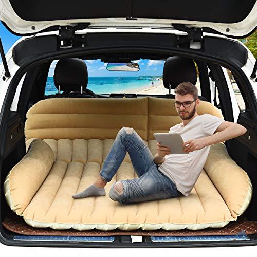 COSTWAY Materasso Gonfiabile da Auto, Letto Gonfiabile per Campeggio Materasso di Viaggio, Pompa Elettrica Inclusa, 180x128x12cm (Beige)