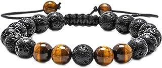 3 قطع لافا روك مجوهرات أساور مجموعة للرجال النساء لافا روك النمر حجر العين مطرز أساور التأمل اليوغا سوار للنساء الرجال