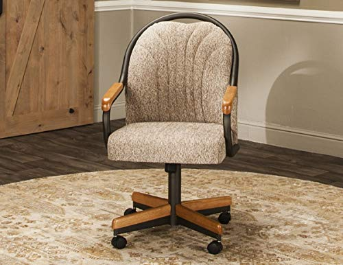 Caster Chair Company Bently Swivel Tilt Caster Arm Chair in Wheat Tweed Fabric