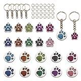 Beadthoven - 20 colgantes esmaltados con diseño de huellas de gato y perro, diseño de huella de animal de mascota, con llavero dividido y anillos de salto para hacer joyas