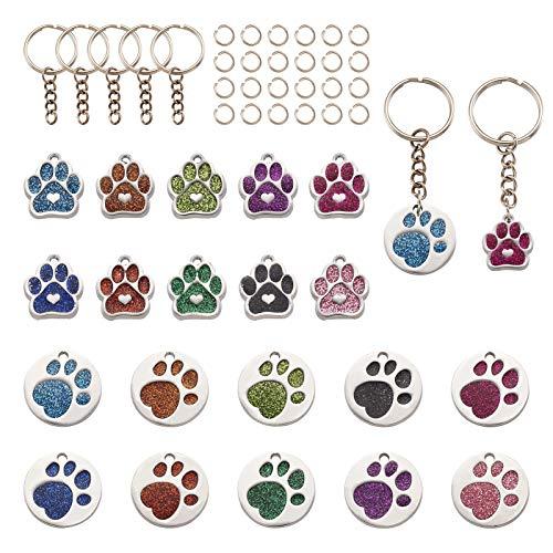 Craftdady 20 colgantes de huellas de perro, 10 colores, diseño de huellas de animales, con anillos de salto, anillos para joyas, manualidades