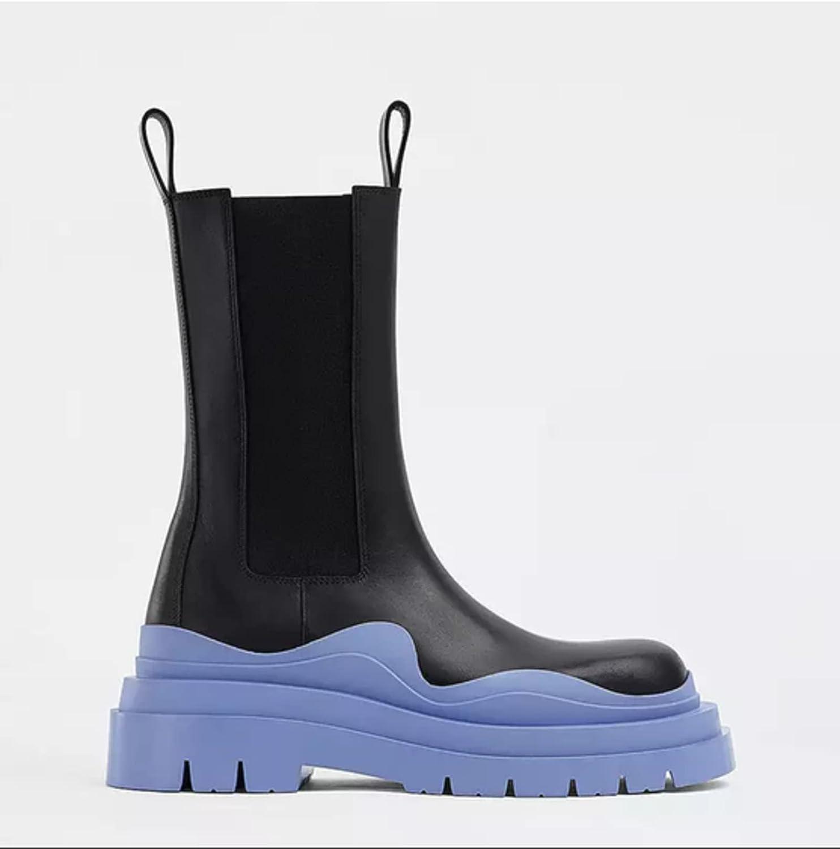 NC 2021 Ankle Boots Chelsea Boots Platform Mid-Calf Sweet Color Elastic Non-Slip Platform