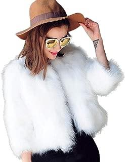 Elogoog Women Faux Fur Soft Winter Short Coat Jacket Fluffy Warm Thicking Outerwear (XL, White)