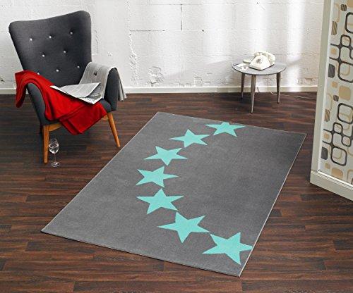 HANSE Home Design Velours Sterne Grau Blau 140x200 cm Teppich, Polypropylen, 140 x 200 x 0.9 cm