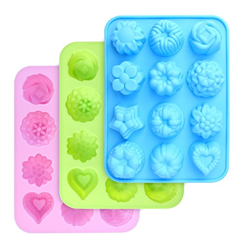 homEdge Food Grade Silicone Flowers Molds, Baking Pan with Flowers and Heart Shape Non-Stick 3-Pack Silicone Molds for Chocolate, Candy, Jelly, Ice Cube, Muffin (Pink, Blue and Green)