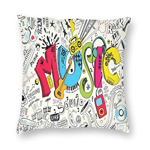 "Fcdraon Music Pop Art Doodle Style Square Home Decor Square Throw Pillowcase Pillow Protector Best Pillow Cover for Bed 24""x24"""