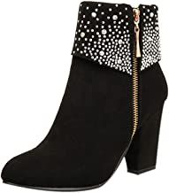 Londony Fashion in Women Crystal Thick Square Flock Ankle Zipper Warm Boots Round Toe Shoes