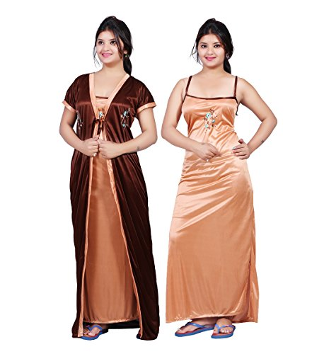 Bailey sells Women's Satin Embroidered Maxi Night Gown (Pack of 2) (BAILEY0151_Brown_Free Size)