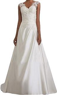 Lenfesh Mujer Vestido de Noche Vestidos De Fiesta Blanco Vestido Elegantes de Cóctel con Cuello en V Vestido para Bodas Si...