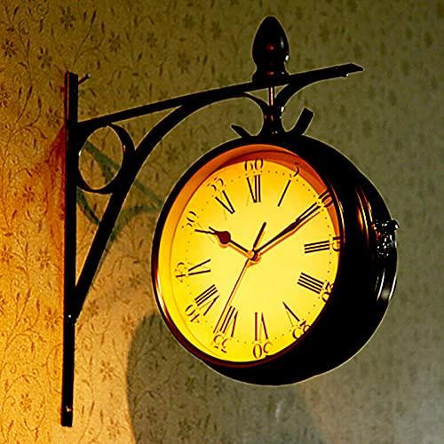 WENCY Reloj de Pared Doble Cara, Retro Antiguo Silenciar el Reloj, Tren Estación Reloj de Pared con Soporte y Números Romanos, Reloj...