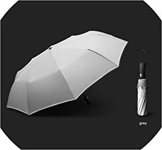 Automatic Folding Umbrella 10 Ribs Windproof Reflective Umbrella Rain Women Men Business Fully Auto Paraguas,grey