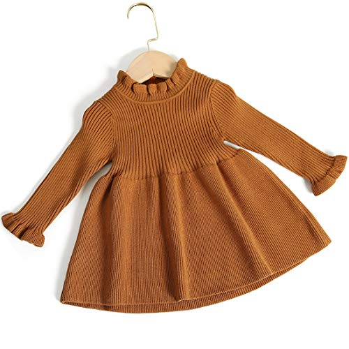 Simplee kids Baby Girl Dresses Autumn Designer for Phtoshoot Knit Sweater Dress Brown 9-12 Months