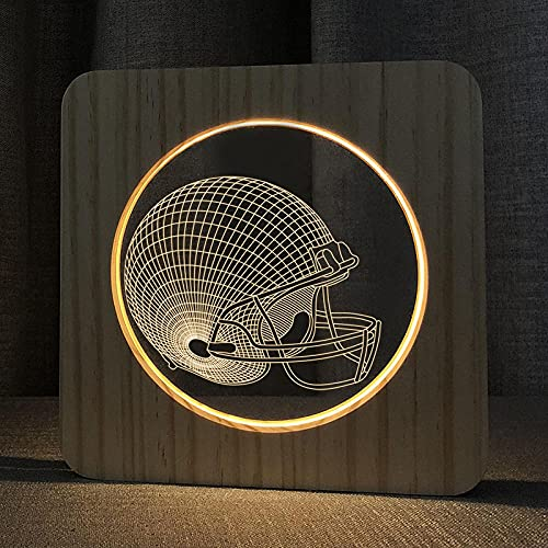 SKLOER Luces de noche de madera acrílica, 3D, interruptor USB con botón de presión, lámpara LED para decoración del hogar, lámpara de luz blanca cálida en color de madera, dormitorio y balón de fútbol