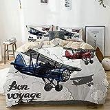 Zozun Juego de Funda nórdica Beige, póster de avión Retro Inspirado en Bon Voyage Lets Travel Fly, Juego de Cama Decorativo de 3 Piezas con 2 Fundas de Almohada