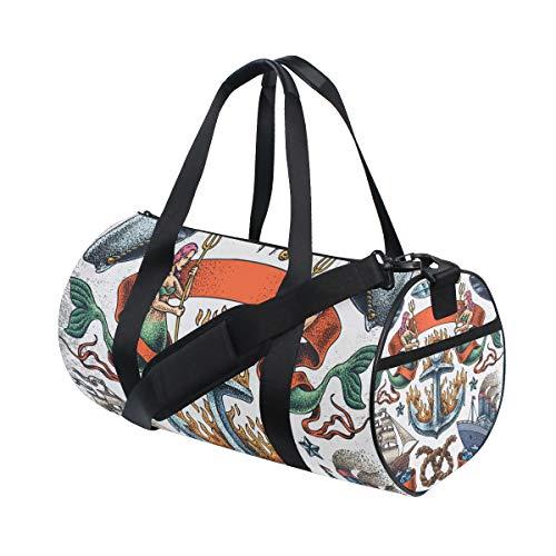 TIZORAX Vintage Mermaid Ancla Botes Gimnasio Bolsa de viaje bolsa de viaje bolsa de viaje bolsa de equipaje