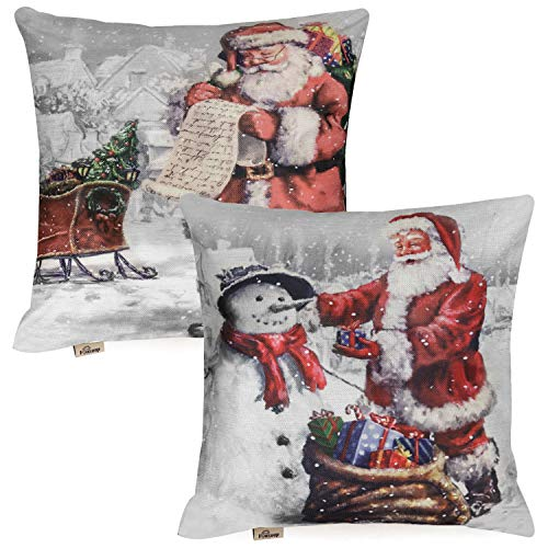 FOOZOUP Christmas Holiday Throw Pillow Covers with Santa Claus Snowman Decorative Outdoor Xmas Pillow Case for Couch Bed Living Room 18 x 18 Set of 2