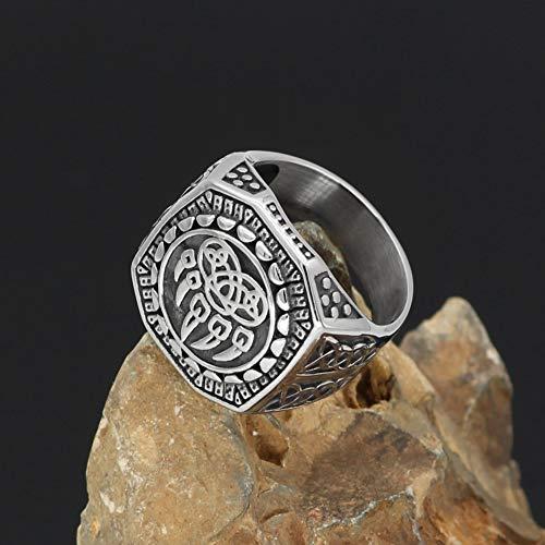 YANGFJcor Retro Norse Viking Men Stainless Steel Wolf Paw Vantage Ring Jewelry,Celtic Knot Pagan Slavic Bear Claw Rune Punk Biker Berserker Signet Ring Size 7-13,10