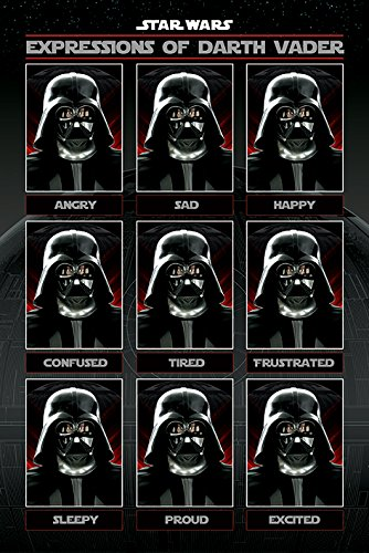 POSTER STOP ONLINE Star Wars - Movie Poster/Print (The Many Expressions of Darth Vader - Angry, Sad, Happy) (Size 24' x 36')