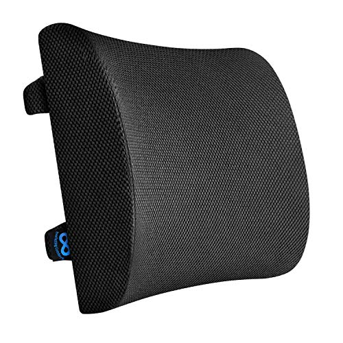 Everlasting Comfort Lumbar Support for Office Chair  Pure Memory Foam Lumbar Pillow for Car Black