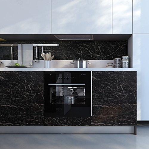 61 x 500 cm Schwarz Marmor Klebefolie Aufkleber Selbstklebende Möbelfolie PVC Wasserdicht Marmorfolie Granit Küchenfolie DIY Dekofolie Tapete für Schlafzimmer Küche Schrank Tisch