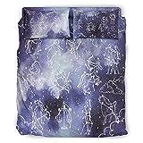 Zhouwonder Star Constellation - Juego de sábanas de 4 piezas para niños y adultos, diseño elegante y cómodo, color blanco cielo estrellado 240 x 264 cm