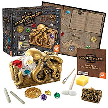 MindWare Dig It Up Discoveries Pirate  Giant Discovery Project for Kids – Dig up 13 Inspiring Charms – Includes a Bonus dig 2 chisels and 1 Poster Filled with Pirate Facts and lore