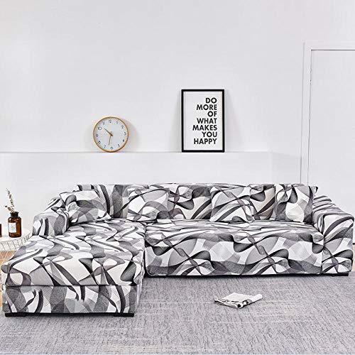 B/H poliéster y Elastano Funda sofá,Fundas de sofá para Sala de Estar Estiramiento en Forma de L Sofá de Esquina Slipcover-8_190-230cm,Forma L Protector para Sofá de