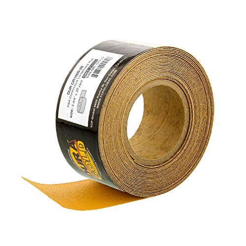 Dura-Gold - Premium - 1000 Grit Gold - Longboard Continuous Roll 20 Yards Long by 2-3/4' Wide PSA Self Adhesive Stickyback Longboard Sandpaper for Automotive and Woodworking