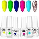 Set di smalti in gel al neon, 6 colori blu, giallo, viola e rosa, paillettes, kit per unghie in gel UV LED, 8 ml per bottiglia