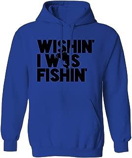 Wishin' I was Fishin' Funny Swift Pigeon Mens Hoodie Sweatshirt (Royal, X-Large)