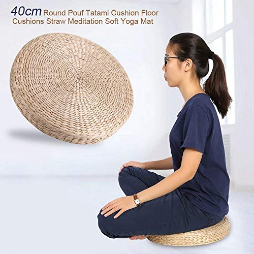 NIMOA Poef Tatami stoel - ronde poef Tatami kussen vloer kussen stro meditatie zachte yoga mat, 40 cm