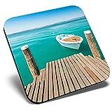 Posavasos cuadrado con diseño de lago de Garda italiano | Posavasos de calidad brillante | Protección de mesa para cualquier tipo de mesa #3410