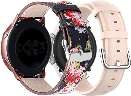 NeatCase Correa de Reloj Compatible con Huawei Watch GT 2 (42mm) / Honor Watch Magic 2 (42mm), Cross Piel Correa/Banda/Pulsera/Reemplazo (20mm, 2PCS F)