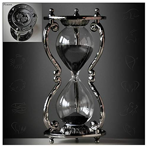 Black Antique Decorative Hourglass Sand Timer - 30 Minute, Unique Vintage 12 Constellations Metal Art Hour Glass for Office Desk Home Decor - Birthday Gift,Pisces