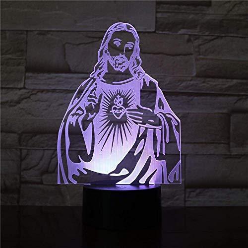 3D-Illusionslampe führte Nachtlicht Christian Jesus am besten für Christen Coole Dekoration Batteriebetrieben 7 Farben für Wohnzimmer Beste Geburtstags-Weihnachtsgeschenke für Kinder