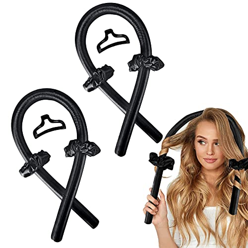 Heatless Hair Curlers Rollers, No Heat Silk Curls Headband Overnight Sleep Styler Wave Formers Soft Foam Flexi Rods with Clip Tie & Scrunchie, Curling Ribbon for Women Natural Long Medium Hair 2Pcs