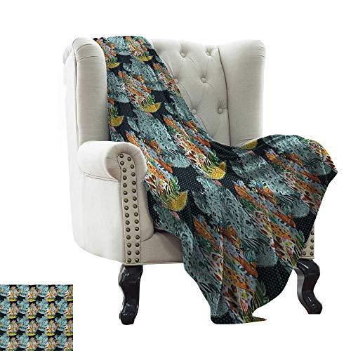 BelleAckerman - Manta de Cachemira para Cama, diseño étnico de Hojas orientales inusuales con Estampado de Pavos en la Imagen, Color Azul y Naranja