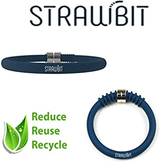 Reusable Straw inside a Bracelet by Strawbit | Patented Design | Bendy Silicone Straw inside collapsible & Flexible Bracelet with Stainless Steel Metal clasp + Cleaner | Environmentally Friendly