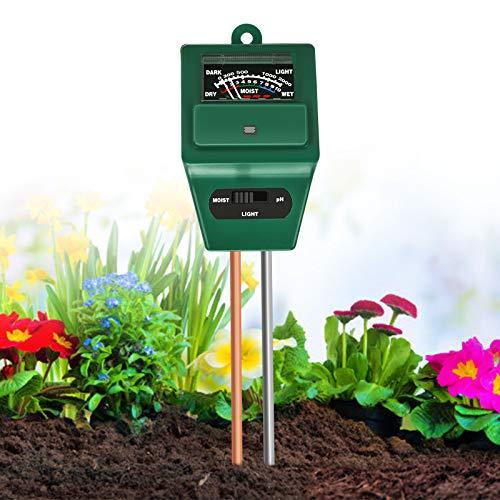 Xddias Medidor de Suelos, medidor de Humedad de Plantas 3/1 / medidor de acidez de luz/pH, higrómetro de Monitor de Agua de Suelo
