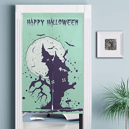JISMUCI Cortinas,Ilustración de Halloween Silueta casa de Brujas en,Decoración del hogar para Cocina,Sala de Estar