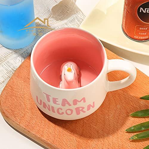 WANGSHI Taza Creativa 3D Stereo Taza De Café Lindo Cerámica Casa Taza De Café 350ml Polvo de Unicornio en Taza Nueva hd240